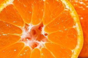 Orange tangerine macro close up