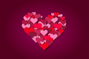 Valentine's heart pink color vector