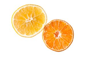 Orange tangerine and lemon fruit gears as half slice isolated on white background