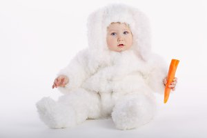 cute baby with rabbit costume