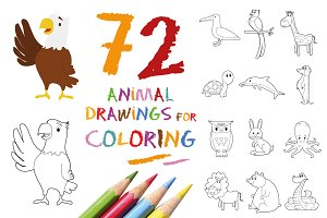 72x Animal Drawings for Coloring