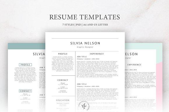 resume templates 7 styles resume templates creative market