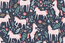 Unicorn Fields Seamless Pattern