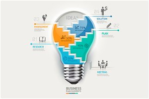 Business Lightbulb Infographics.