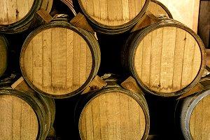 Stacked wine barrels