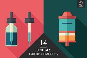 Just vape flat square icon set