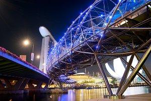 Helix Bridge and Marina Bay Sands
