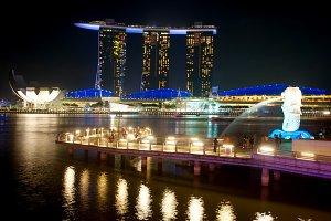Singapore Bay at night