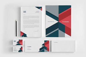 Modern Red Blue Stationery
