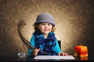 little beautiful vintage writer girl
