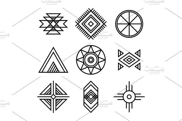 Native American Indians Tribal Symbols Illustrations Creative Market