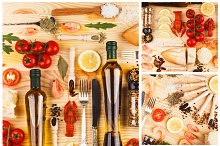 Spices, boiled cancers, cherry tomatoes, greenery and olive oil