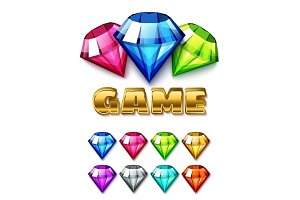 Cartoon Diamond Shaped Gem icons set