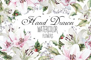 Hand Drawn watercolor flowers lily