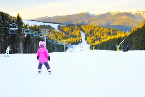 Children ski mountian activity