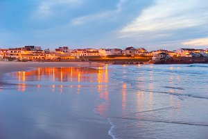 Coastal town at twilight. Portugal