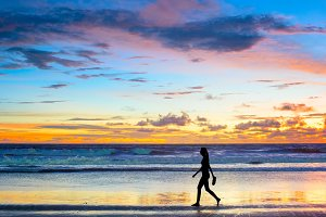 Walking  at sunset. Bali island