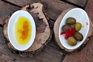 oilive oil with paprika and olives