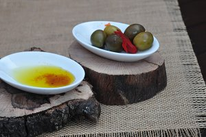 olive oil with papikra and olives