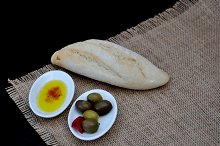 olive oil, olives and bread