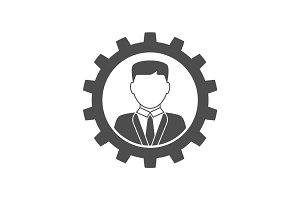 Businessman in gear icon