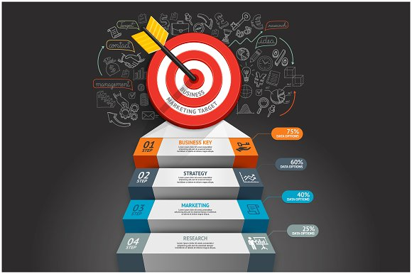 Business Target Stair Infographics.
