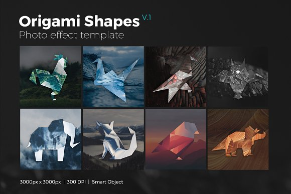 Origami Shapes Photo Templates V1