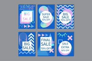 Sale Cards Set Memphis style