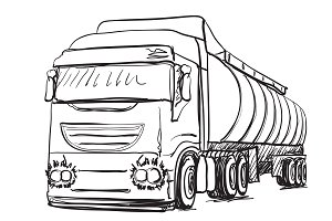 Truck sketch. Delivery poster