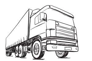 Sketching truck. Logistics