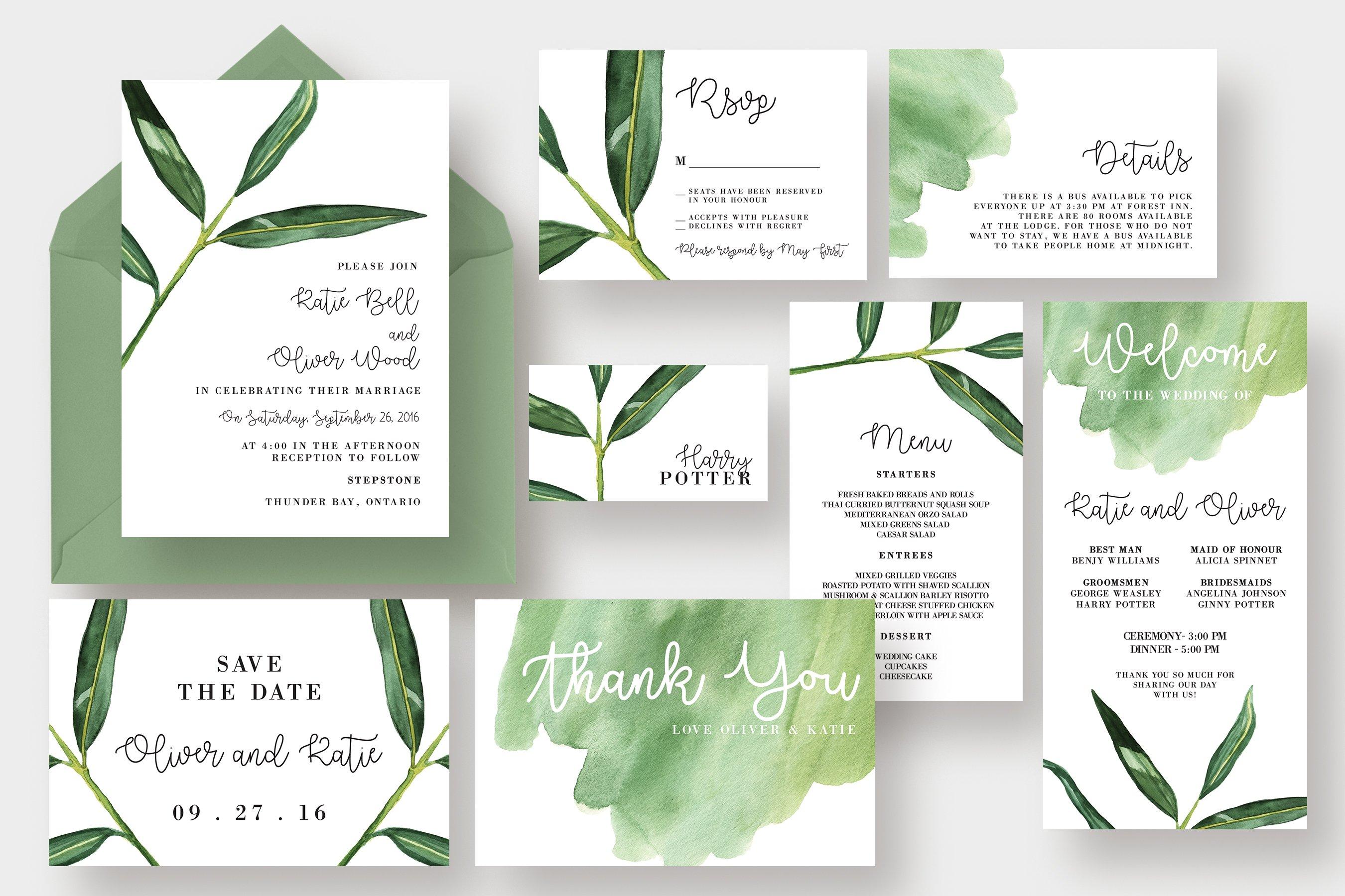 Watercolor Leaf Wedding Suite ~ Invitation Templates ~ Creative Market