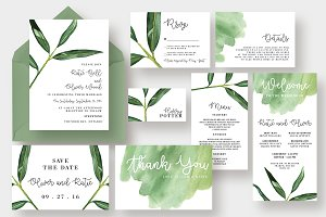 Watercolor Leaf Wedding Suite