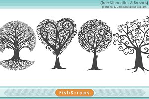 Tree Clip Art - Tree Silhouettes