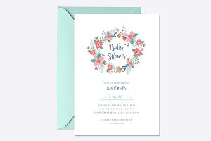 Garden Wreath Baby Shower Invite