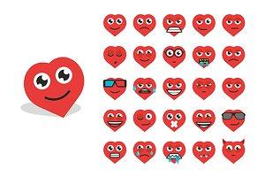 Set heart emoticons