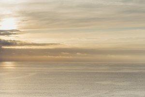 Sunny sunset over the ocean