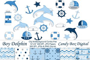 Boy Dolphin Clip Art & Papers Combo