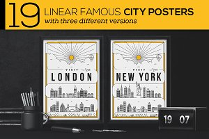 19 Linear Famous City Posters