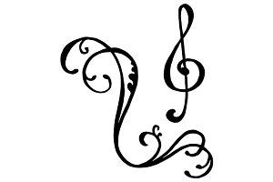 Doodle treble clef key music symbol
