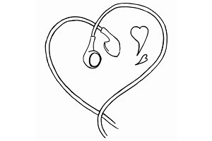Doodle earphones love music vector
