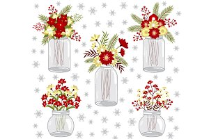 Christmas Flowers in Mason Jars