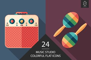 Music studio flat square icon set