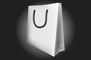 White empty 3D shopping bag vector