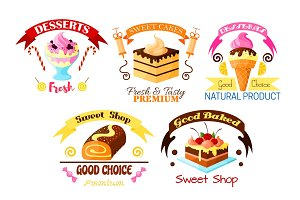 Dessert emblem set, cake, cupcake, ice cream icons