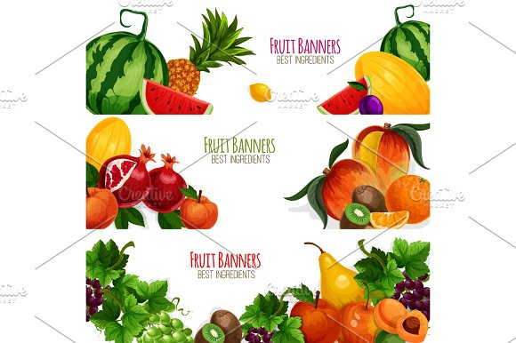 Garden And Exoic Fruits Vector Banners Set