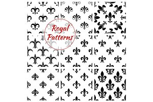 Royal lily flower fleur-de-lis floral patterns set