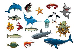 Sea fish and ocean animals cartoon vector icons