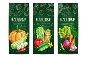 Vegetable, healthy food chalk sketch banner set