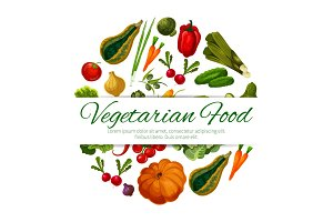 Vegetarian food poster vector vegetables harvest