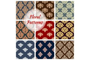 Floral patterns set, flourish vector ornament tile